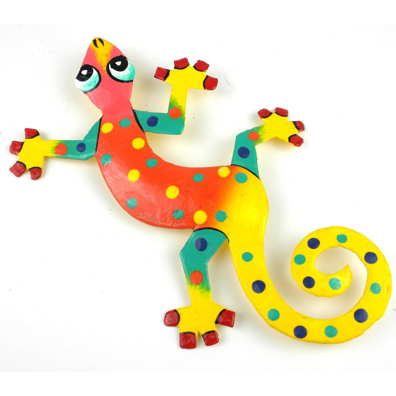 Eight Inch Yellow Tail Metal Gecko, A Fair Trade product distributed by a member of The Fair Trade Federation. By Global Crafts From USA