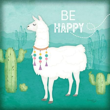 f320eb389a003 Be Happy Llama Poster Print by Jennifer Pugh - Walmart.com