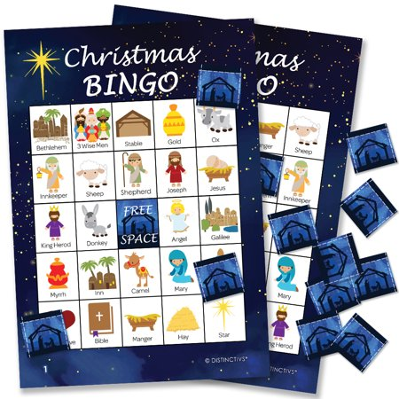 Halloween Party Games Bingo (Religious Christmas Bingo for 24 Players - Bible Bingo Christian Christmas Party Game Supplies - 24 Bingo Cards with)