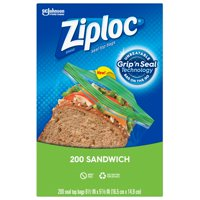 Ziploc Brand Sandwich Bags with Grip 'n Seal Technology, 200 Count