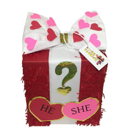 Valentine's Day Gender Reveal Gift Box Pinata Pull Strings - Valentines Pinata