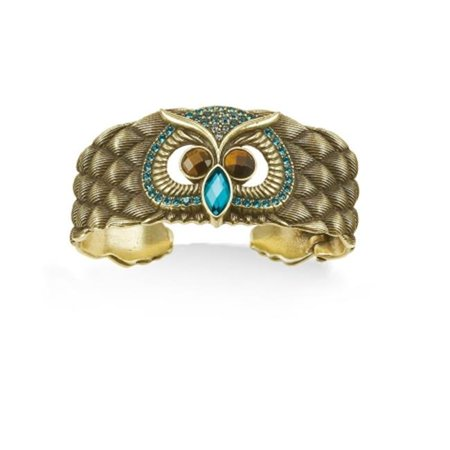 Eshopo 0900000034077 Gold Tone Metal Tigers Eye Stone Aqua Blue Crystal Owl Cuff