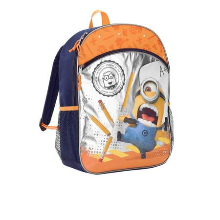 8d406f0854 Minions - Despicable Me Minion 16   Metallic Foil Front Pocket Kids Backpack  - Walmart.com