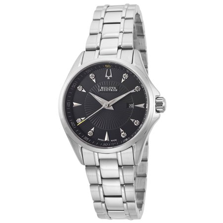 Accutron Black Bracelet - Accutron by Bulova Ladies Swiss Made Diamond Watch