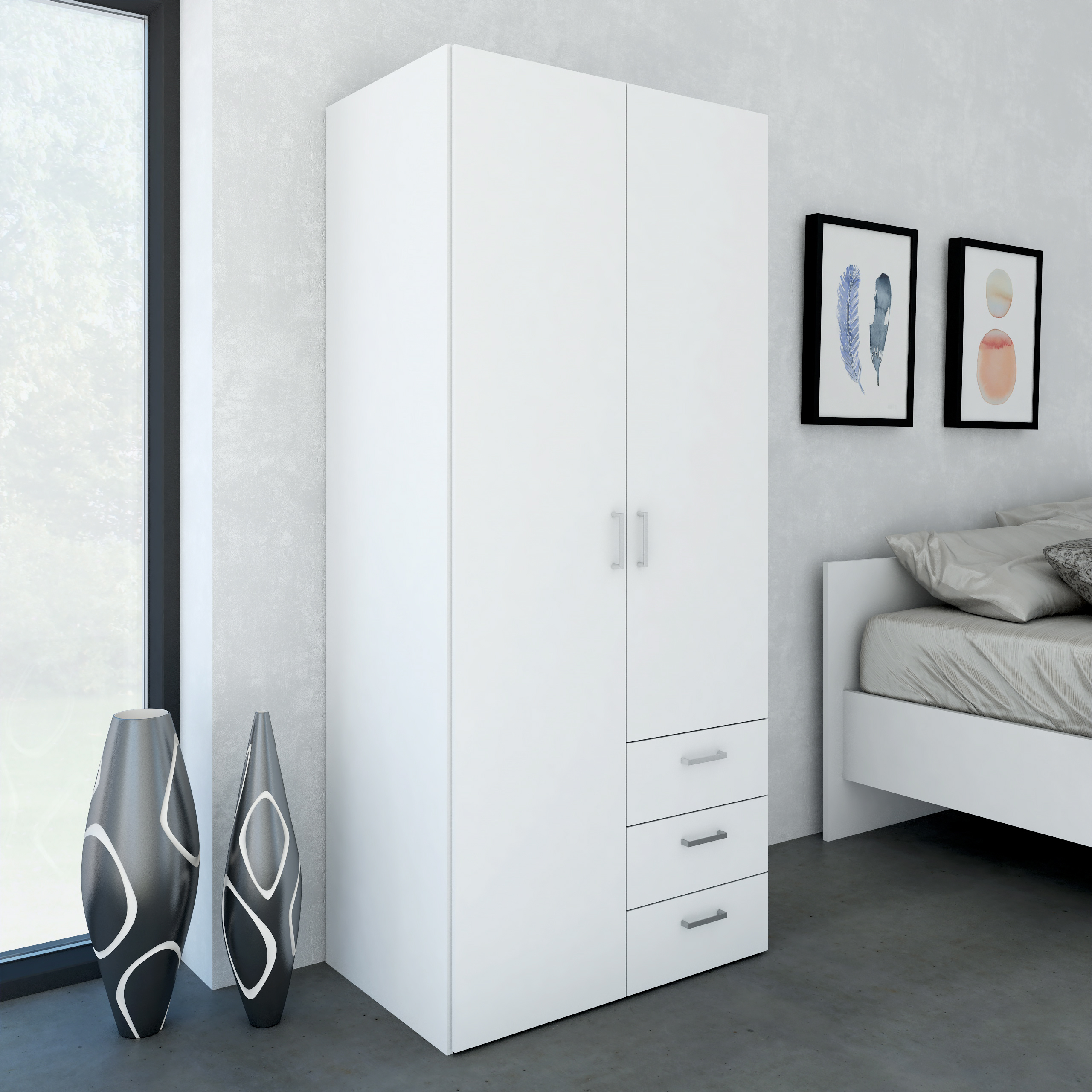 Space Wardrobe with 2 Doors and 3 Drawers