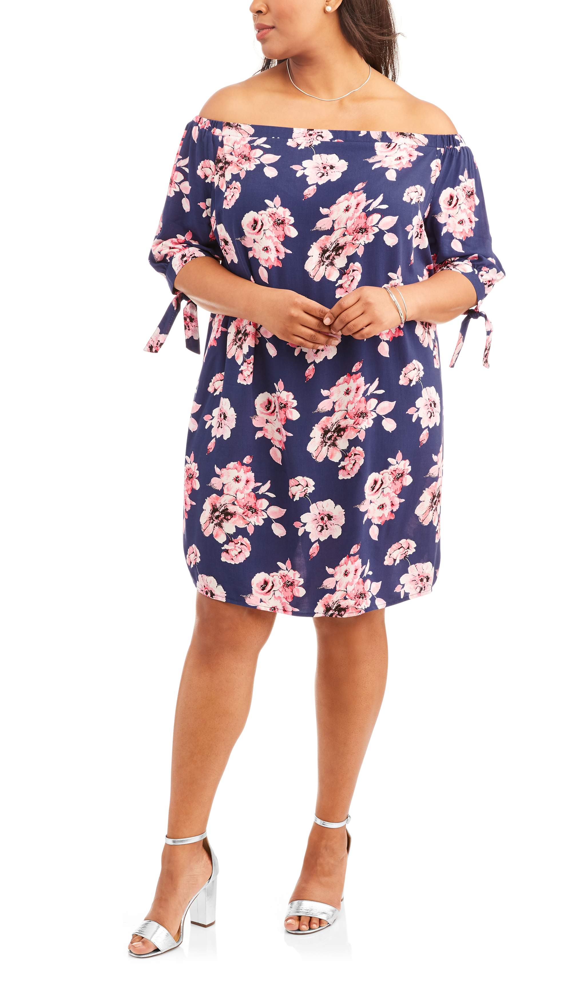 Whoa, Wait Women's Plus Off the Shoulder Dress with Tie Sleeves