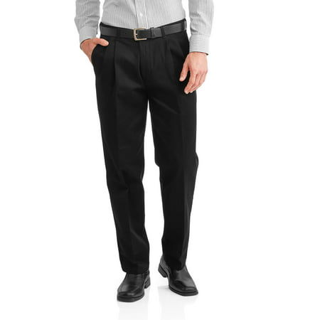 George Men's Wrinkle Resistant Pleated 100% Cotton Twill Pant with Scotchgard Twill Double Pleat Pants