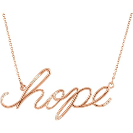 Hope Diamond Necklace - 14k Rose Gold Diamond Hope 16