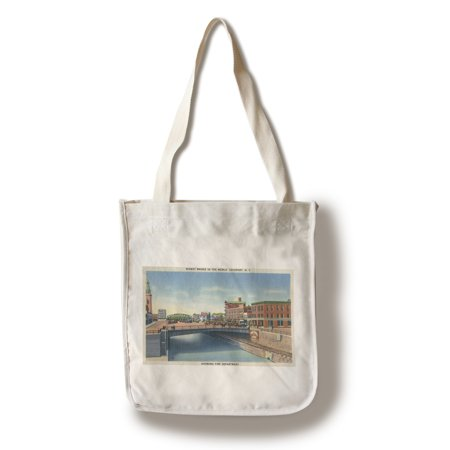 Lockport, New York - View of the Widest Bridge in the World, View of the Fire Department (100% Cotton Tote Bag - Reusable) Fire Department Bag