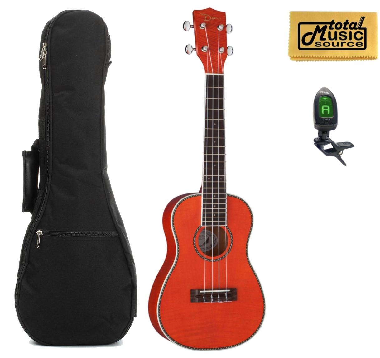 Dean Guitars Flame Maple Concert Ukulele Trans Amber w/ Padded Gigbag,Tuner & PC ,UKE DC FM TAM PACK