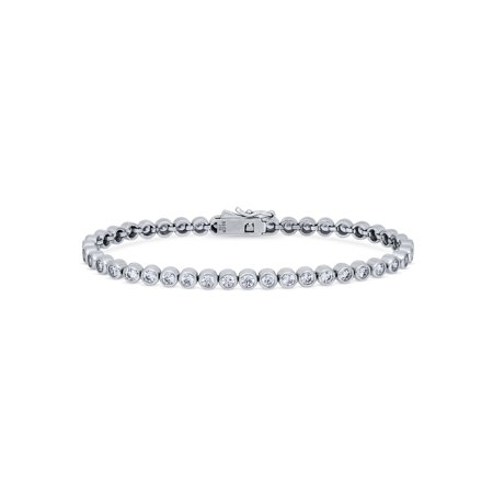 Rhodium Plated Sterling Silver Bubble Tennis Bracelet Made with Swarovski Zirconia 6.5](Silver Bubble)