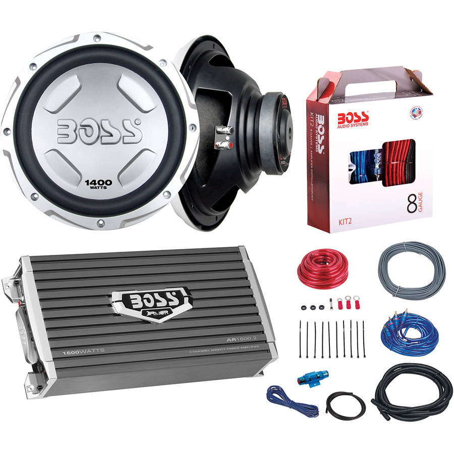 "Boss Audio B212SPKG 1600-Watt Bass Package with Two 12"" Subwoofers and Amp Installation Kit"