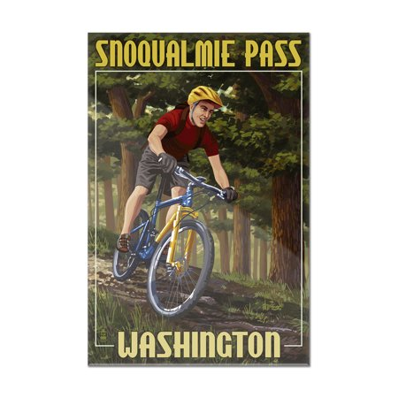 Snoqualmie Pass  Washington   Mountain Biker In Trees   Lantern Press Poster  8X12 Acrylic Wall Art Gallery Quality