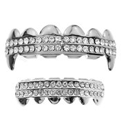 Vampire Fang Grillz Set Two Row Silver Tone Top Fangs & Bottom Teeth Bling Grills