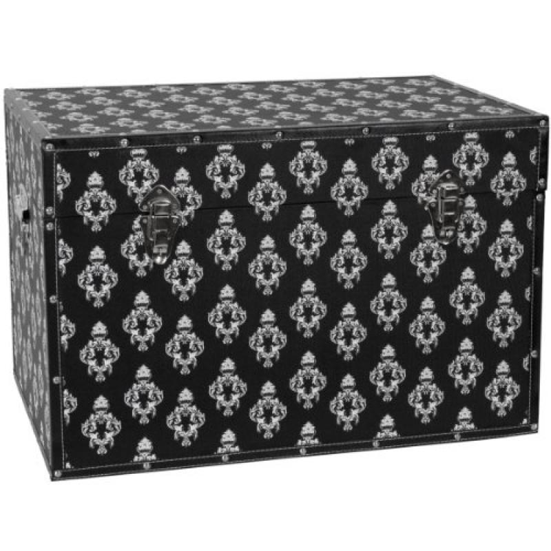 Merveilleux Oriental Furniture Damask Storage Trunk   Black   Walmart.com