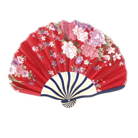 Womens Pennies - Women Bamboo Frame Peony Printed Seashell Shaped Summer Hand Folding Cooling Fan