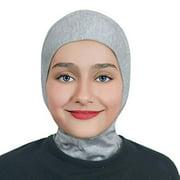 Girls/Children Ninja Hijab Scarf Headscarf Wrap one Piece Muslim Amira Cotton (Heather Gray)