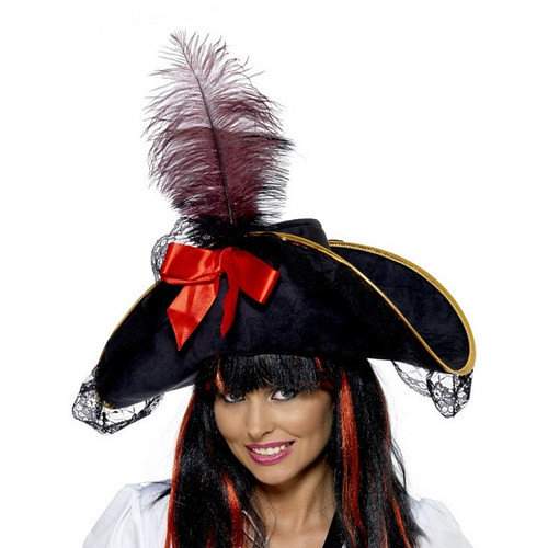 Smiffy's Deluxe Pirate Hat with Trim and Feather