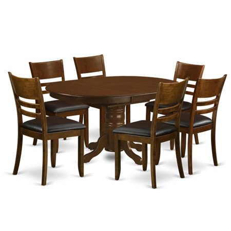 Set Kenley with One Leaf & Six Padded Leather Chairs, Espresso - 18 in. - 7 Piece