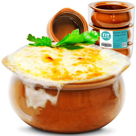 [ 6 Packs ] French Onion Soup Crock - Brown Premium Ceramic Porcelain Bowls, Microwave Oven Safe, For Soup, Stews, Chilis, Baked Beans, Mac and - French Lace Porcelain