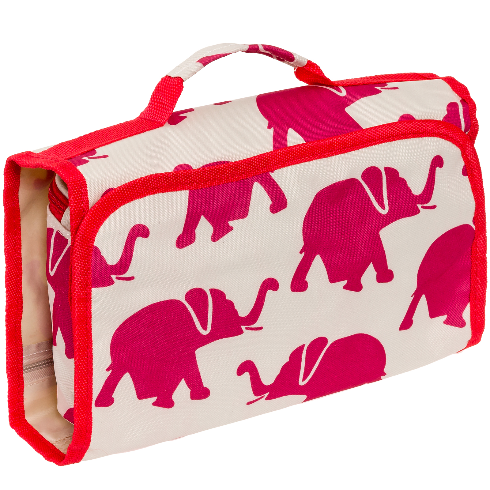 Womens Hanging Travel Cosmetic Bag (Elephants - Red & White)