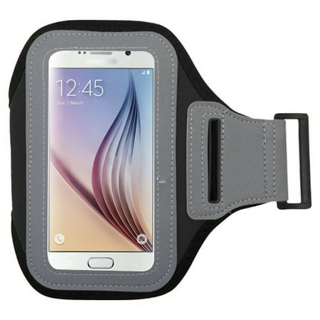 MUNDAZE Black Exercise Running Fitness Armband For LG Aristo / Rebel 2 / Fortune / Phoenix 3 / K8 Phone (Black Label Running Rebels)