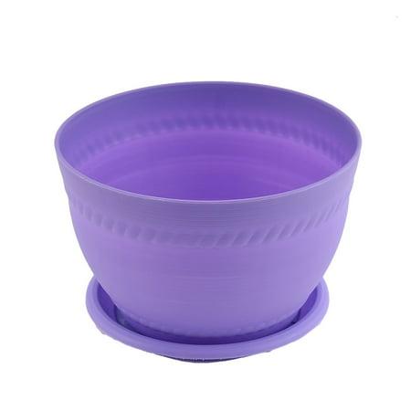 Purple Pottery - Home Office Plastic Pottery Clay Style Plant Flower Pot Holder Purple w Pallet