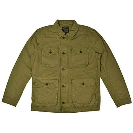 New  Lucky Brand Men's Cotton Zip Up Military Field Jacket Green (L) Cotton Zip Vest