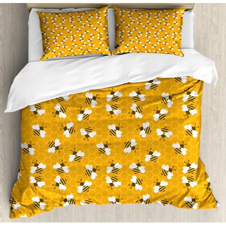 Harley Quinn Honey (Bee Queen Size Duvet Cover Set, Bumble Bees Producing Honey by Filling Honeycombs Cells Themed Graphic Image Print, Decorative 3 Piece Bedding Set with 2 Pillow Shams, Multicolor, by)