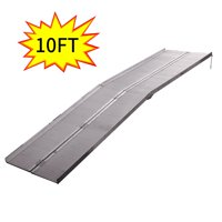 Jaxpety 10 Feet Mobility Handicap Aluminum Wheelchair Scooter Folding Portable Threshold Ramp with Handle