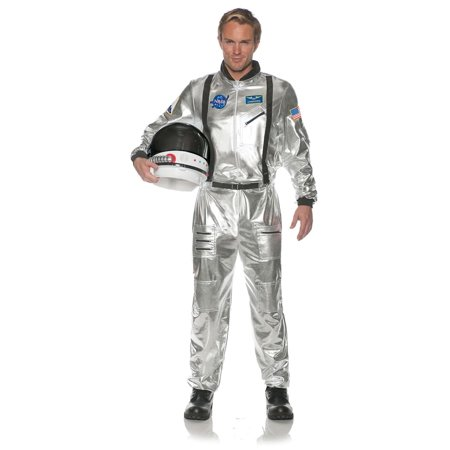 Astronaut Costume For Adults (Astronaut Silver Mens Adult Outer Space Explorer Halloween)