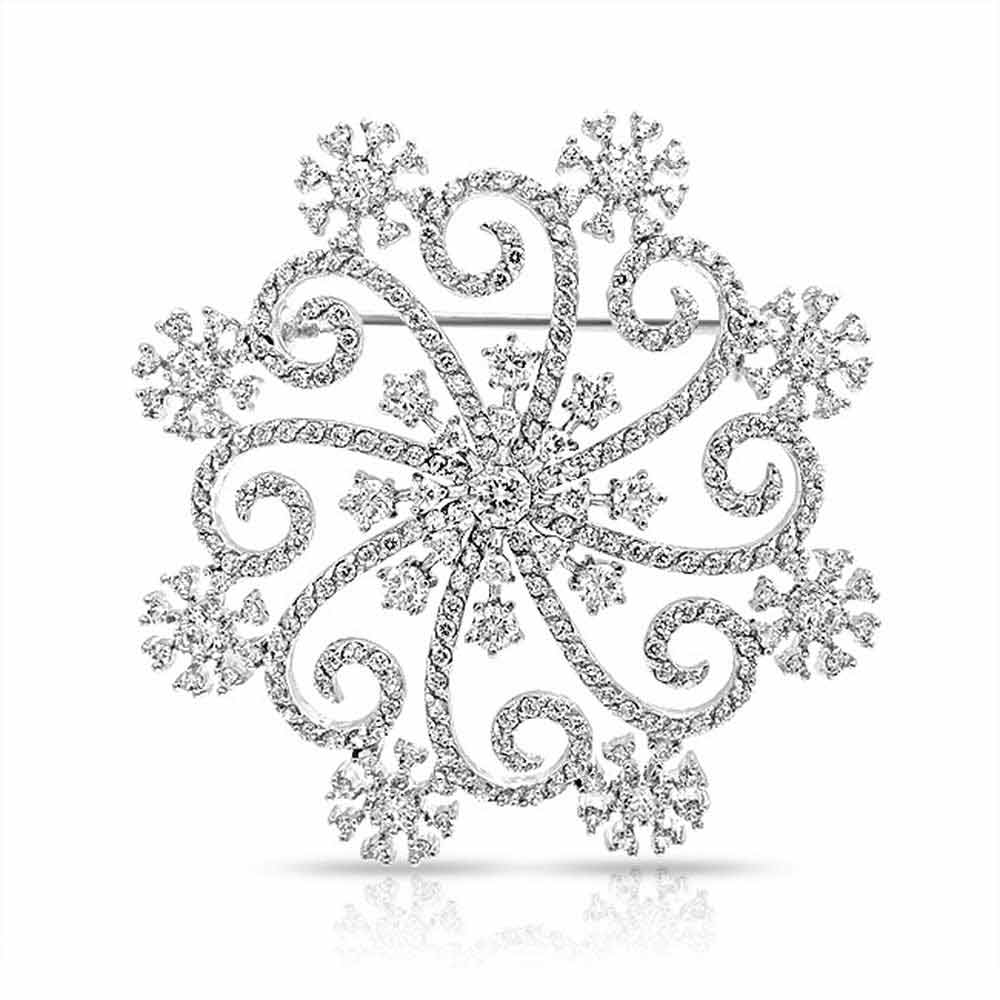 Bling Jewelry Large Swirl Cubic Zirconia Snowflake Winter Brooch Pin Rhodium Plated by Bling Jewelry