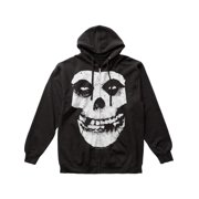Misfits Men's  Fiend Skull Zippered Hooded Sweatshirt Black