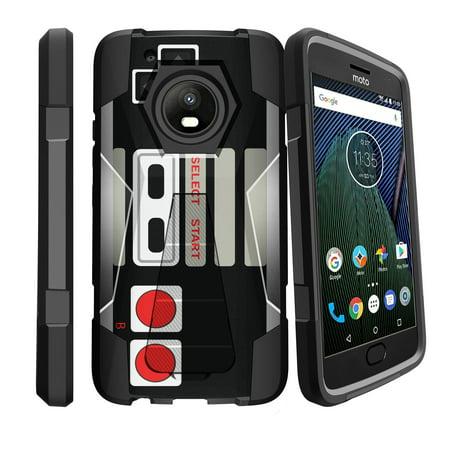 Slim Impact Case for Motorola Moto E4 | Moto E (4th Gen) XT1768 Kickstand Case [Shock Fusion] Advanced Case w/ Built-In Locking Kickstand - Retro Controller (Stand Shock)