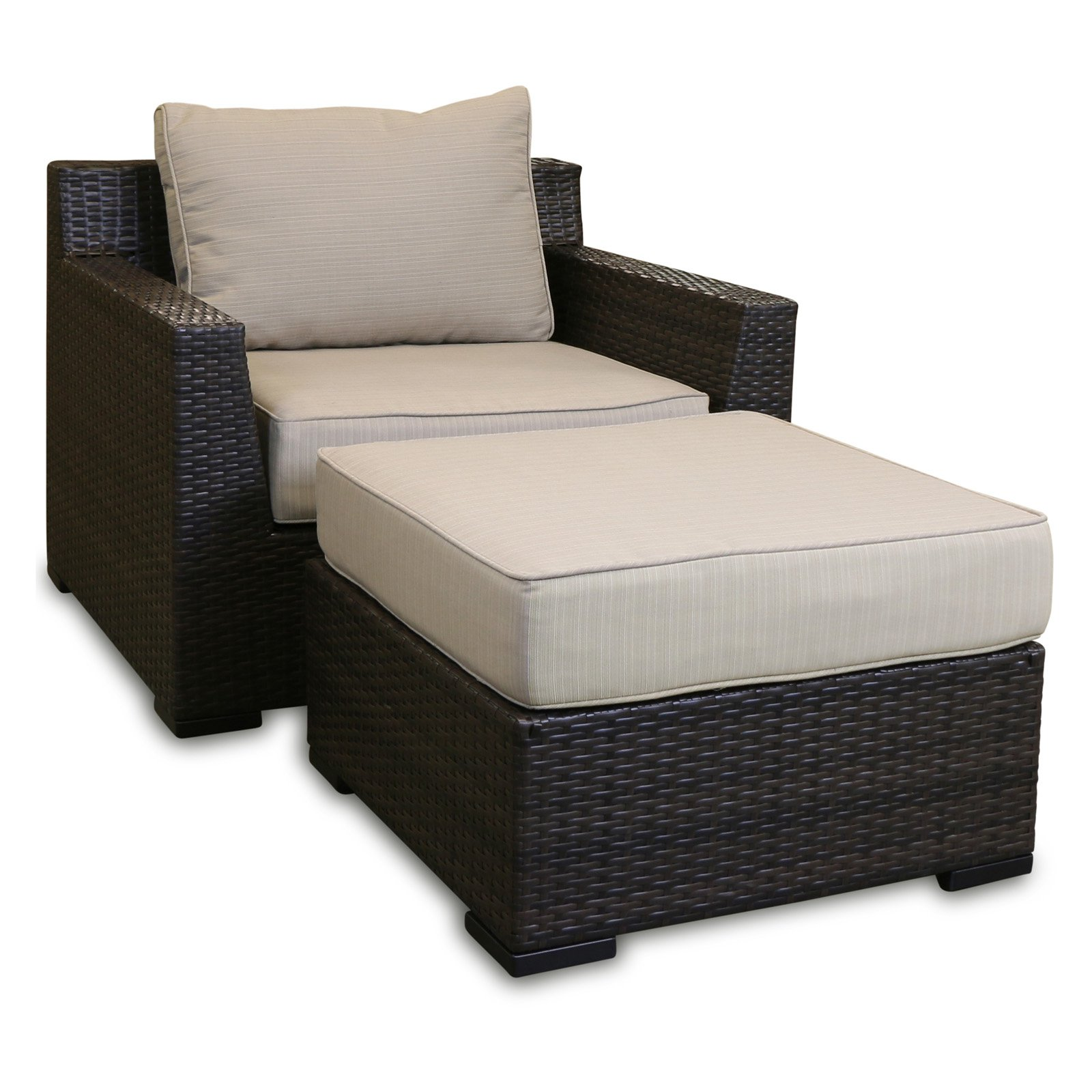 Shoreline Rattan Southport Wicker 2 Piece Patio Lounge Chair and Ottoman Set