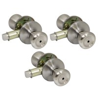 3 Pack of Pro-Grade Classic Mobile Home Privacy Door Knob Bed and Bath Handle, Satin Nickel