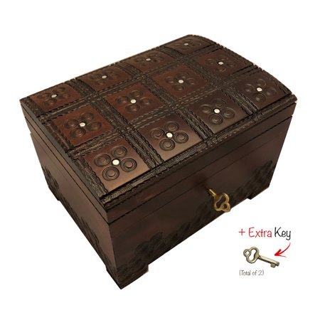 Handmade Wooden Chest Box Polish Linden Wood Jewelry Keepsake Box with Lock and Key