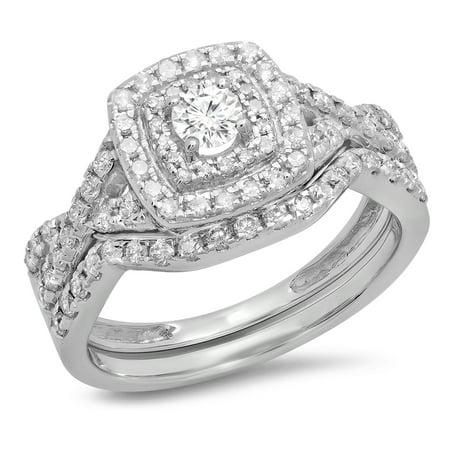Dazzlingrock Collection 0.85 Carat (ctw) 10K Round Diamond Split Shank Bridal Halo Engagement Ring Set, White Gold, Size 10