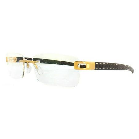 TAG Heuer Men's L-Type T 0153 003  Gold Brown Praline Leather Eyeglasses (Tag Eyeglasses)