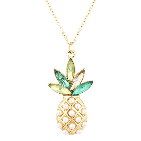 Lux Accessories Gold Tone Pearl Multi Green Stone PIneapple Pendant Necklace Glass Multi Stone Pendant