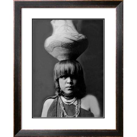 San Ildefonso Girl with Jar Framed Giclee Print Wall Art  By Edward S. Curtis - 24x22