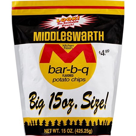 Middleswarth Kitchen Fresh Potato Chips Bar B Q Flavored    Big Bag 15 Oz   4 Bags