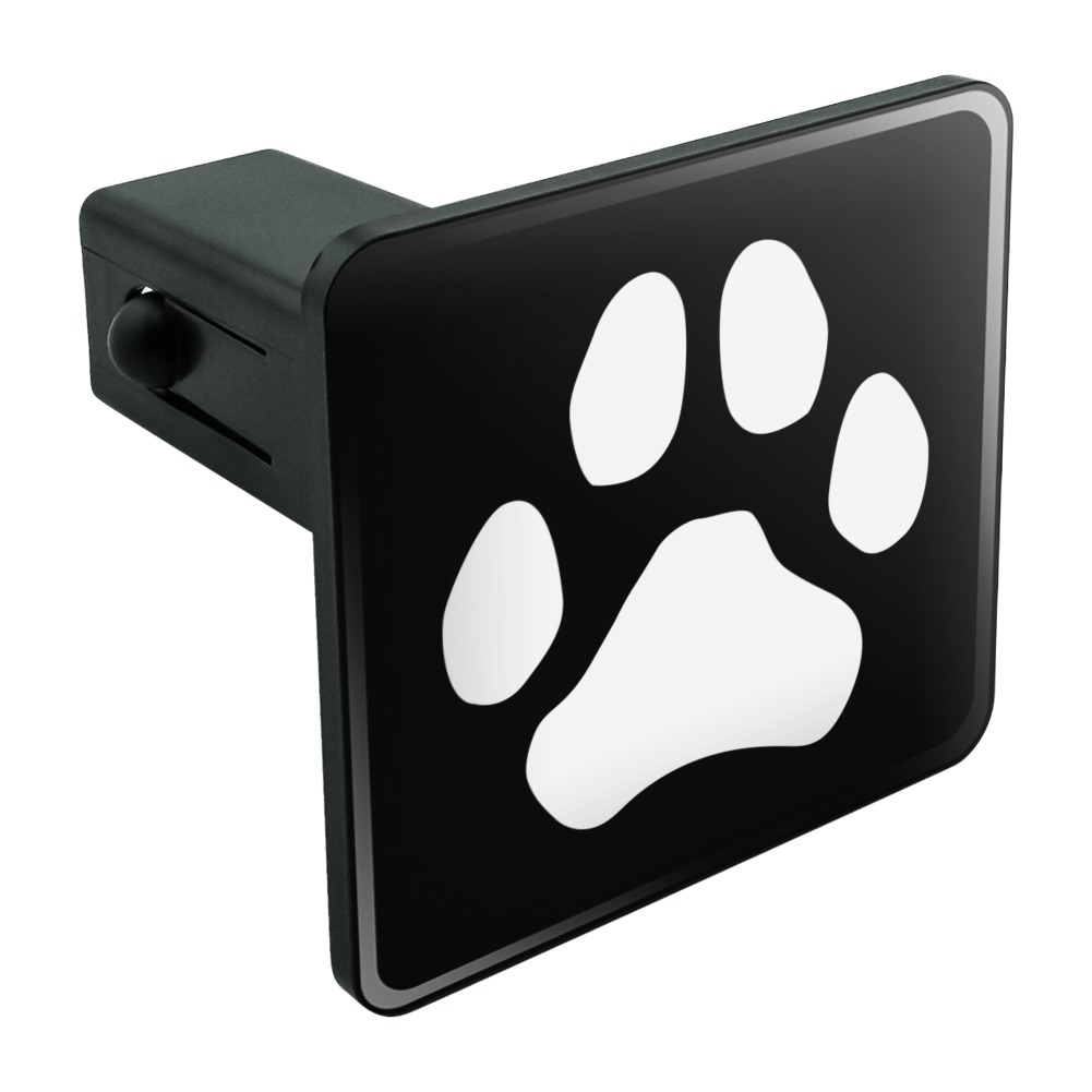 """Paw Print Dog Cat White on Black Tow Trailer Hitch Cover Plug Insert 1 1/4 inch (1.25"""")"""