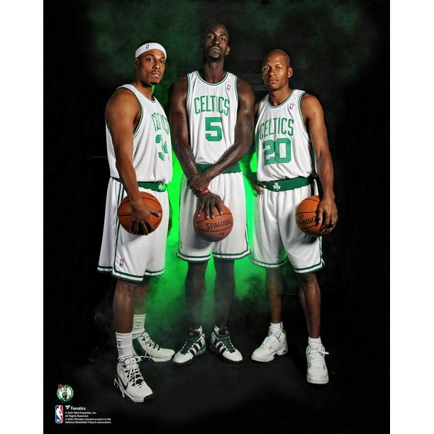 Kevin Garnett, Paul Pierce and Ray Allen Boston Celtics Unsigned White Jersey Photograph