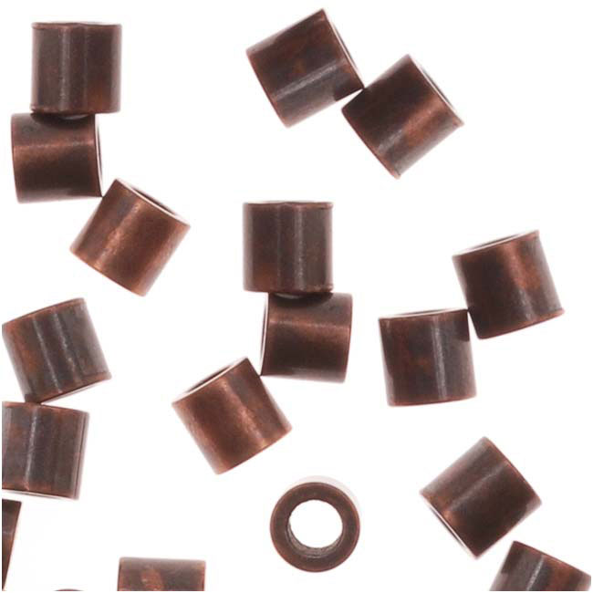 Tube Crimp Beads, 2 x 2mm, 50 Pieces, Antiqued Copper