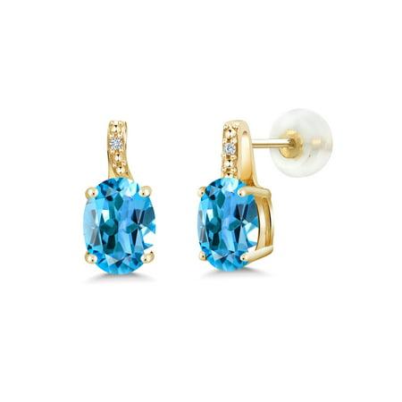 2.61 Ct Oval Swiss Blue Topaz White Diamond 10K Yellow Gold Earrings