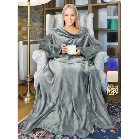 Napa Stylish Microplush Fleece Blanket with Sleeves Soft Home Sofa Throw Robe for Adults - Brown Hooded Robe