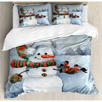 Snowman Duvet Cover Set, Watercolor Style Snowfall Outdoors Merry Christmas Theme Winter Bullfinch Birds, Decorative Bedding Set with Pillow Shams, Multicolor, by Ambesonne