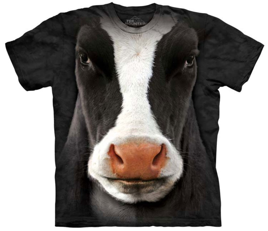 The Mountain Black 100 Cotton Cow Face Realistic Graphic T Shirt