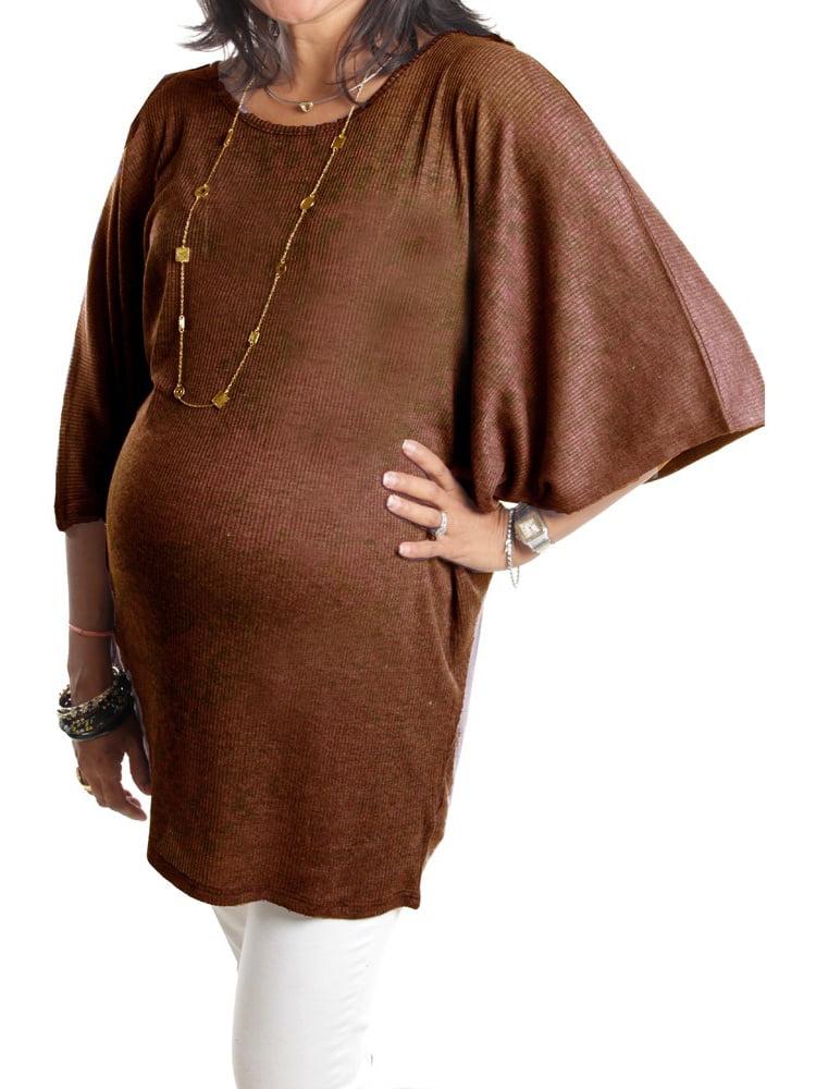 Love My Belly Women Brown Dolman Sleeve Maternity Tunic